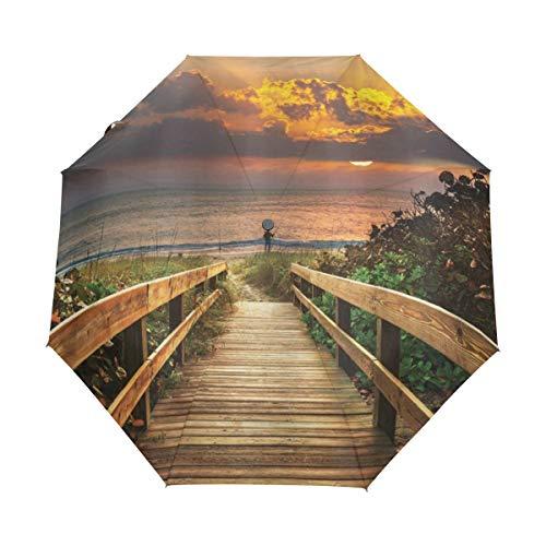 DUILLY Automatischer Regenschirm,Gestalten Sie hölzernen Pier zum ruhigen idyllischen Strand mit Kraut-Büschen in Sonnenuntergang-Meer landschaftlich,zusammenklappbarer Kleiner Sonnenschirm