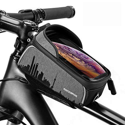 ROCKBROS Bolsa Cuadro Manillar de Bicicleta Montaña Carretera MTB Pantalla Táctil para Móvil de 6,5 Pulgadas