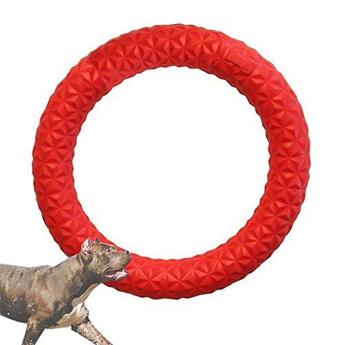 HongYH Hond Speelgoed Kauwen Ring, Huisdier Training Frisbee Interactieve Hond Molaren Tandenreiniging, Anti-bite Bubble Hond Speelgoed voor Outdoor Spelen Training, S, Rood
