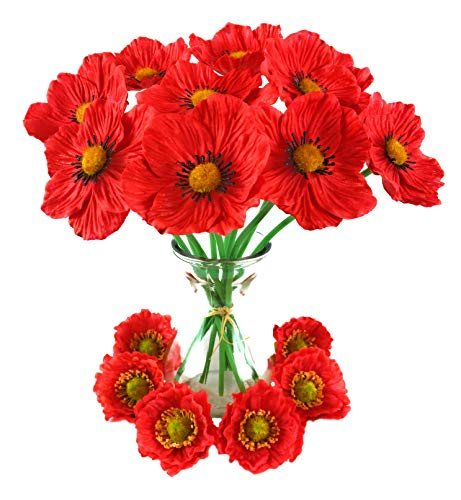 Artificial Flowers Long Stem Poppies Silk Poppy Flower Heads 16 Piece Set for Home Vase Fake Plants Kitchen Decorations Weddings Crafts Bouquets Table Settings Special Events Hair Accessories
