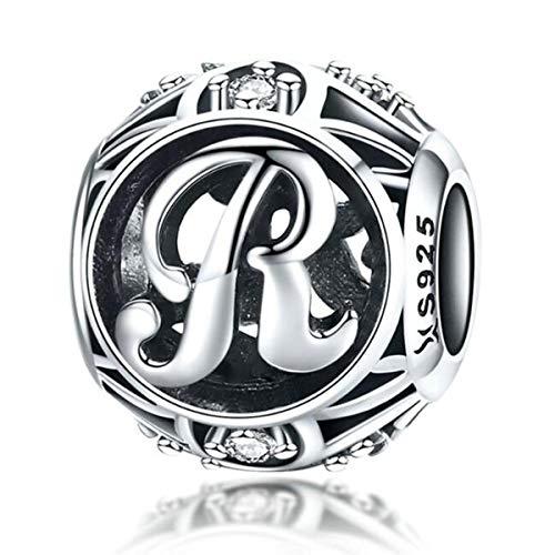 Abalorios de plata de ley 925 genuina con inicial A-Z del alfabeto para pulseras Pandora (letra R)