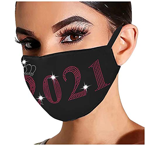 Onefa Women's Cotton Diamond Black Face Covering, Outdoor Reusable Drill Printed Breathable Fashion Ice Windproof Face Balaclava