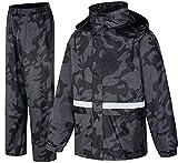 Tuta da Pioggia, Giacche e Pantaloni Impermeabili, Abbigliamento da Pioggia per Uomo Donna, Antipioggia Tuta per Caccia Pesca sul Lavoro,XXL
