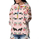 Girls Ladies Funny Cool 3D Printed Sweatshirts Pullover, Long Sleeves Cavalier King Charles Spaniel Pink Florals Floral Dog Hoodies Sports Outwear for Cycling, Fishing, Travel