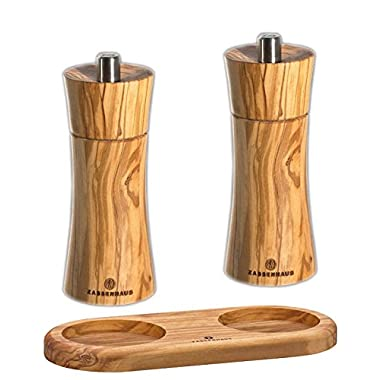 Zassenhaus Pepper & Salt Mill Set Olive 5.5-inch with Stand