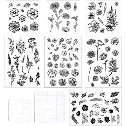 9 Pieces Flower Series Clear Stamp Crafts Flowers Silicone Stamps and Acrylic Stamp Blocks Tools with Grid Lines for Card Making Decor DIY Scrapbooking (Transparent)