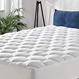 MANYHY California King Mattress Pad Cover 500 TC Cotton Pillow Top Thick Quilted Fitted Cooling Mattress Topper Fit to 8-21' Deep Pocket, Overfilled Snow Down Alternative (Cal King, 72''x 84'')