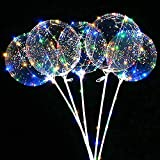 6 Stücke Ballons Leuchtende Luftballons,Led Ballons Mit Stab Luftballons, Led Ballon Bunt,Led Ballons Helium,Led Bunte Lichterkette.