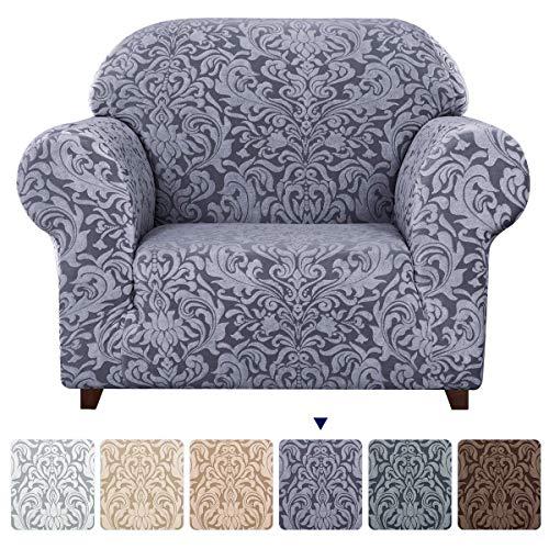 subrtex 1-teiliges Sofabezug, dehnbar, mit elastischen Armlehnen, Sofa-Schutz, graublau, 1 Sitz