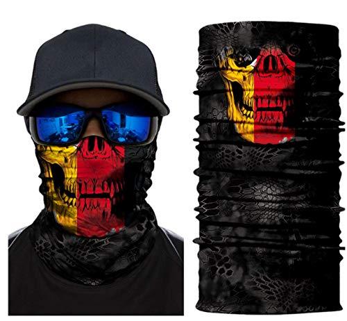 [23 VARIATIONEN] Hochwertige Biker-Maske - Balaclava - Sturmhaube - Gesichtsmaske - Motorrad - Kopfbedeckung - Cool - Hals - Premium Design - Komfortabel - Haltbar - Fahrrad (Germany skull)