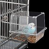 Comedero automático para pájaros para jaula de plástico transparente para semillas de pájaros y loros, contenedor de alimentos para canarios, cacatúas, pinzones de periquito.