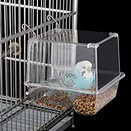 Automatic Bird Feeder for Cage Transparent Plastic Bird Seed Feeder Parrot Food Container Feeding Station for Canary Cockatiel Finch Parakeet