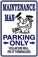 メンテナンスマン駐車場のみ。金属スズサイン通知街路交通危険警告耐久性、防水性、防錆性