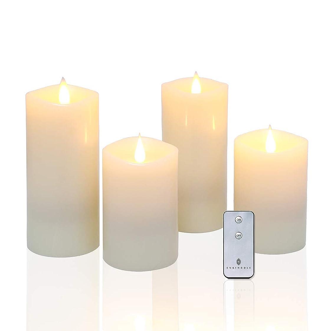 横リボンとENKINDDLE フレイムレスキャンドル 3D ちらつきの芯 LEDキャンドル リモートタイマー付き 2x3*5+2x3*7 snow-grey led candle-3x9