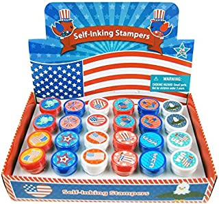 TINYMILLS 24 Pcs Patriotic I Love USA Stampers for Kids