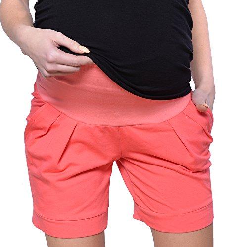 MijaCulture Shorts de Maternidad Cortos/Pantalones de Maternidad para algodón de Verano 1047 (EU34 / XS, Coral)