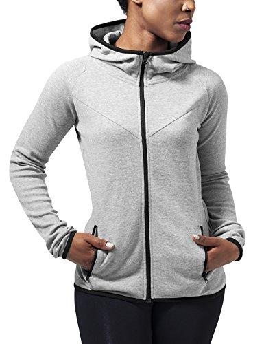Urban Classics Damen Ladies Athletic Interlock Zip Hoody Kapuzenpullover,  Grau (Grey 111), XL