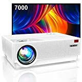 Vidéoprojecteur, WiMiUS 7000 Vidéoprojecteur Full HD 1080P Rétroprojecteur 4K Soutien, Correction Digitale 4D Audio AC3 Projecteur LED 90,000 Heures Home Cinéma TV Box,PC,PS4 HDMI VGA AV USB