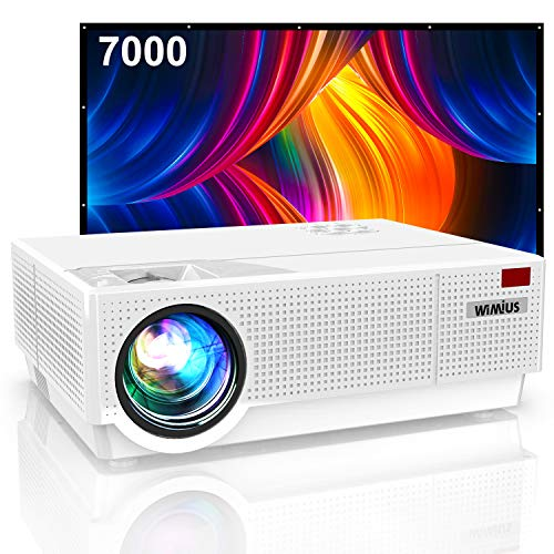 "Proyector, WiMiUS 7000 Lúmenes Proyector Full HD 1920x1080P Proyector Cine en Casa Soporte 4K Contraste 10000: 1 Ajuste Digital 4D Pantalla 300"" Sonido Hi-Fi Proyector LED 100,000H PS4 HDMI/VGA/AV/USB"