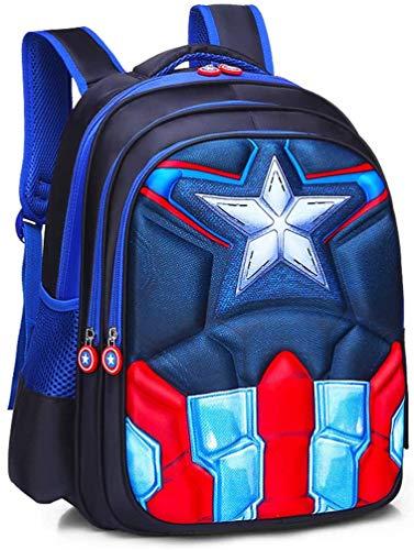 Sp-ider-Man - Zaino impermeabile per bambini, per scuola elementare, studente, supereroe, in 3D, con guscio rigido, per bambini, dimensioni: S (36 x 16 x 28 cm), colore: Capitan America blu)