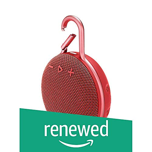 JBL Clip 3 Portable IPX7 Waterproof Wireless Bluetooth Speaker with Built-in Carabiner, Noise-Canceling Speakerphone and Microphone, Red (Renewed)