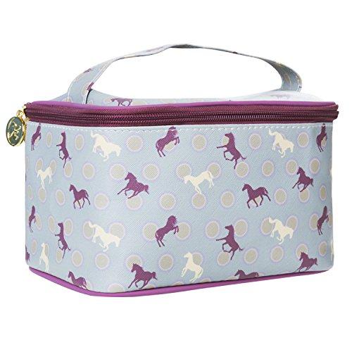 TaylorHe Make-up Bag Waterdichte make-up tas met handvat toilettas portemonnee tas meerkleurig tas met patronen paarden, paars