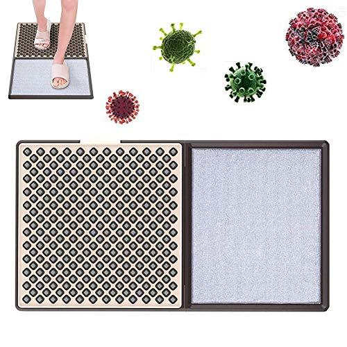 M-TOP Alfombra Desinfectante Pies, Zapato Soles Disinfecting Tapetes de Piso, Felpudo Entrada Casa Lavable Antideslizante de Fibras y PVC1 pcs