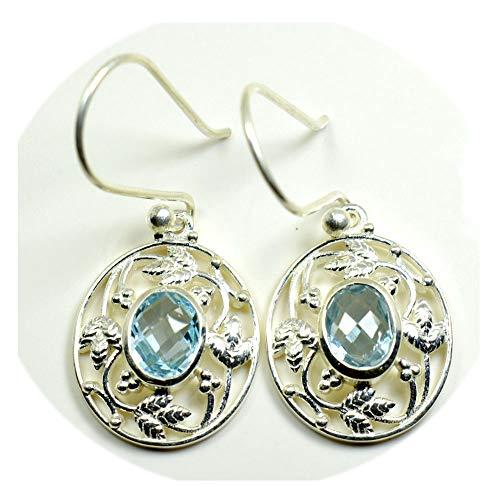 Pendientes de plata de ley 925 con topacio azul natural para mujer, estilo ovalado con mariposa,...