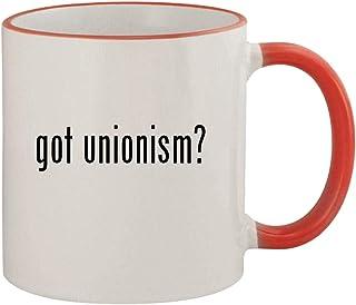 got unionism? - 11oz Ceramic Colored Rim & Handle Coffee Mug, Red
