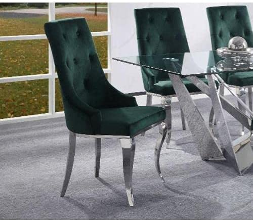 Dekel Side Chair Max 81% Product OFF Set-2 Fabric Steel Green Stainless