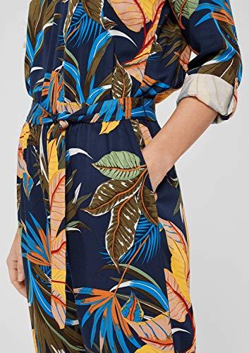 s.Oliver RED Label Damen Twill-Jumpsuit mit geripptem V-Neck Dark Blue AOP 42 - 3