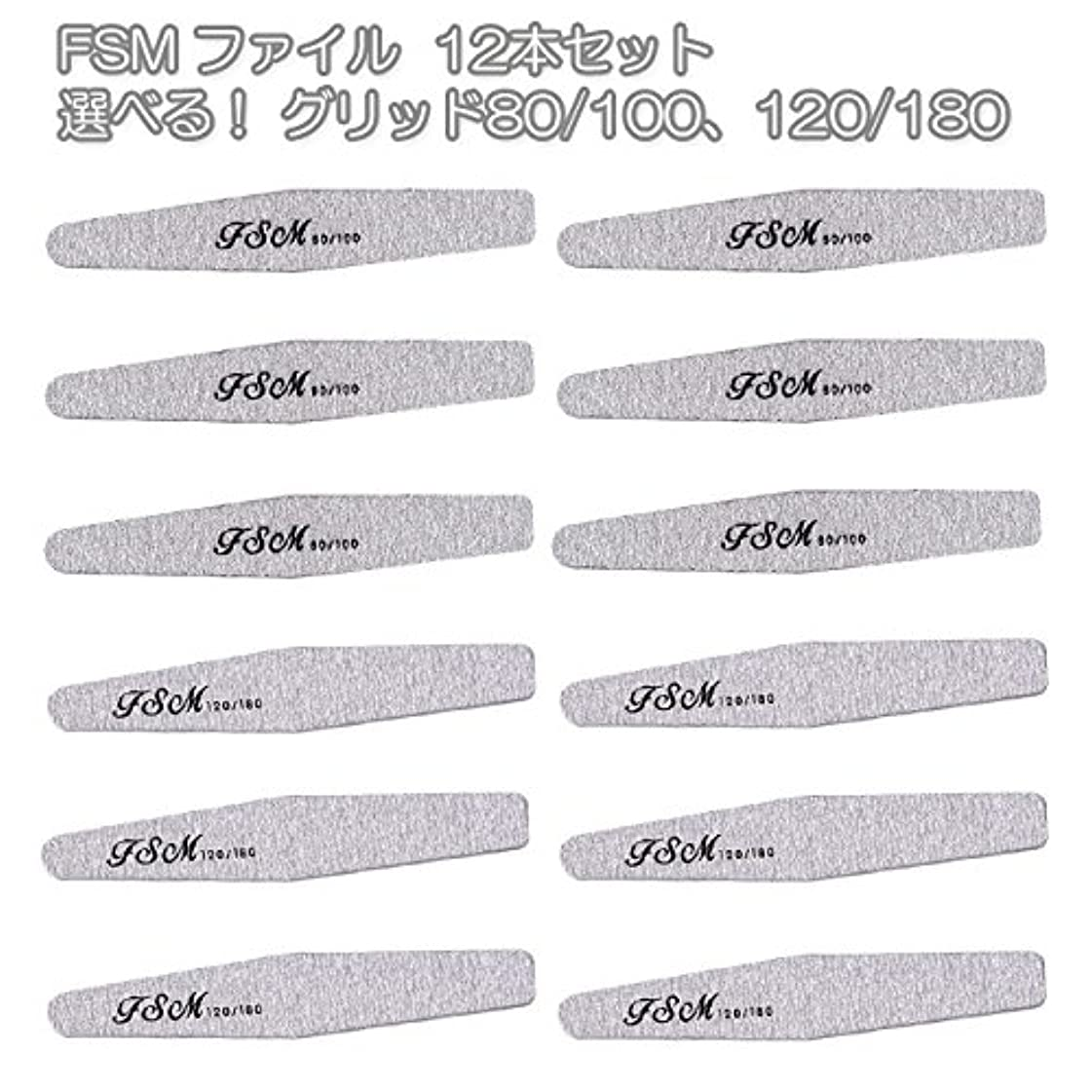 簡潔なハック白鳥FSM ネイルファイル/バッファー12本セット(選べる!グリッド80/100、120/180) (G80/100の12本)