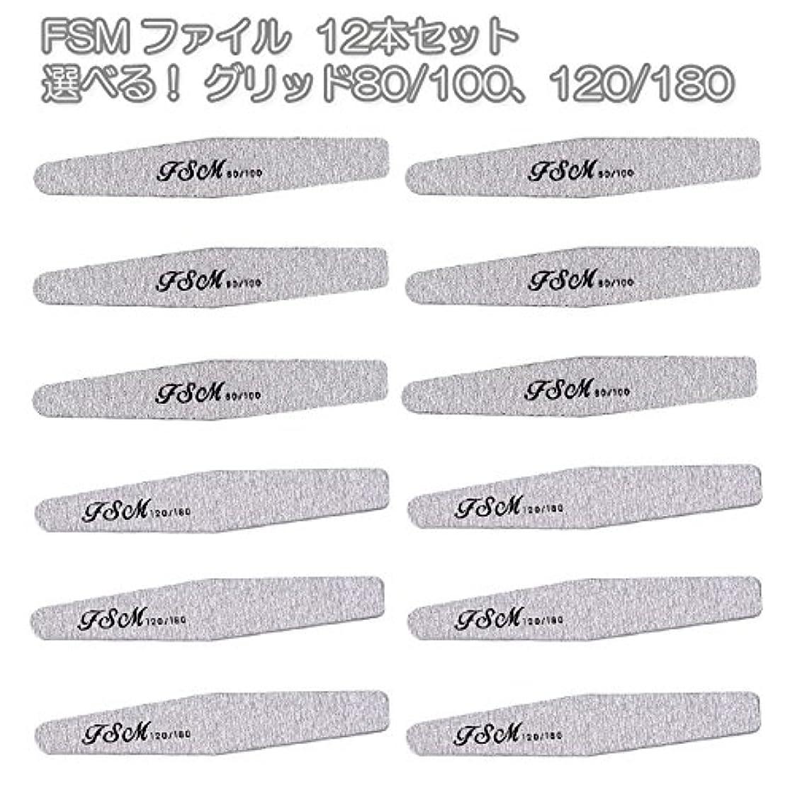 中庭入手しますお茶FSM ネイルファイル/バッファー12本セット(選べる!グリッド80/100、120/180) (G80/100の12本)