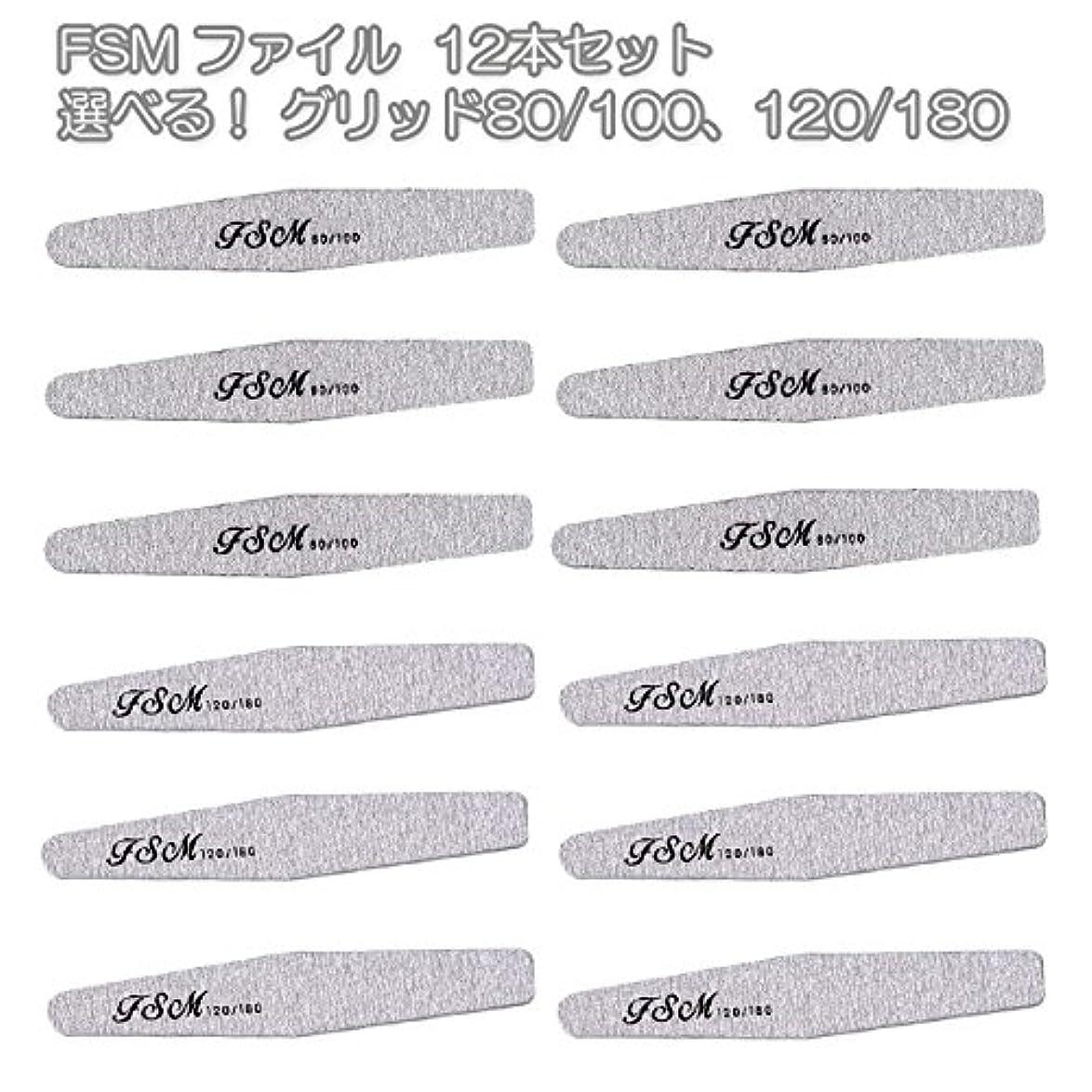 くつろぎ名義で噛むFSM ネイルファイル/バッファー12本セット(選べる!グリッド80/100、120/180) (G80/100の12本)