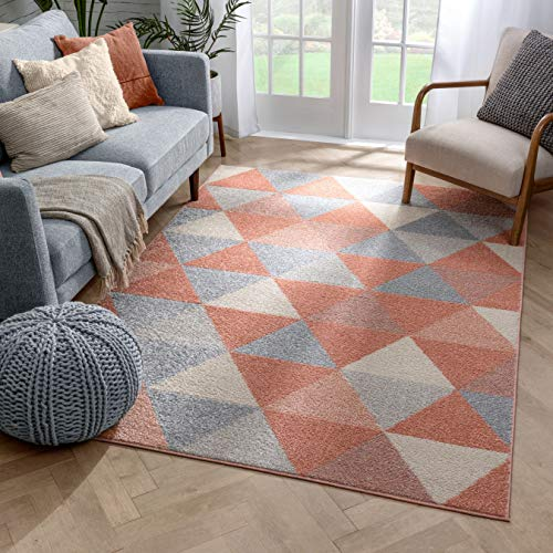 Well Woven Isometry Pink Modern Geometric Triangle Pattern 5x7 (5' x 7') Area Rug Soft Shed Free Easy to Clean Stain Resistant