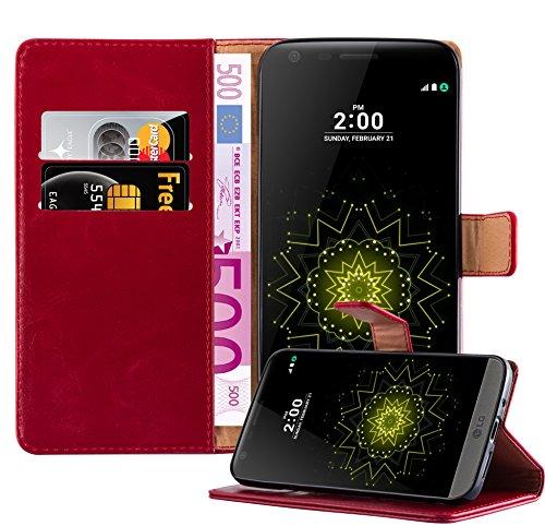 Cadorabo Funda Libro para LG G5 en Rojo Burdeos - Cubierta Proteccíon con Cierre Magnético, Tarjetero y Función de Suporte - Etui Case Cover Carcasa