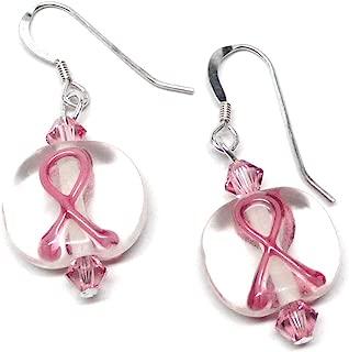 Pink Ribbon Earrings Sterling Silver Lamp Work Clear Glass