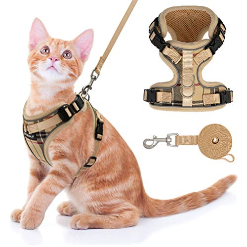 Cat Harness and Leash Set - Escape Proof Adjustable Harness for Outdoor with Reflective Strap, Soft Mesh with Metal Clip Cat Walking Jacket for Kitten - Plaid