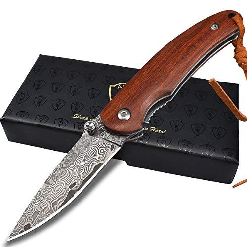 AUBEY Damast Taschenmesser Klein Damastmesser Holzgriff Mini Messer aus Damaststahl Klappmesser EDC Knife Outdoor Survival, 6 cm Klinge