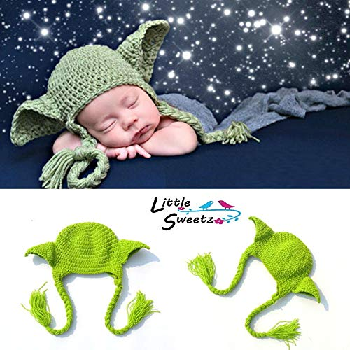 Little Sweetz ** Baby FotoShooting Kostüm Newborn ** Fotografie Props - Made with Love - HäkelDesign (Yoda Hat)