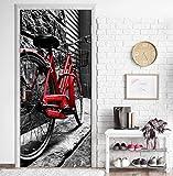 MEGADECOR Vinilo Adhesivo Decorativo para Puertas. 83cm x 204cm, Bicicleta Roja Vintage Retro En La Calle De Adoquines En El Casco Antiguo