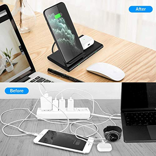 Hoidokly Wireless Charger 10W Qi Induktive Dual Fast Ladestation Schnelles 2 in 1 Kabelloses Ladegerät für Samsung Galaxy S20/S10/S9/Note 20 Ultra/Note 10/Galaxy Buds Live, Airpods pro(Kein Adapter)