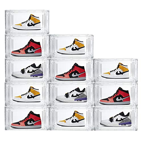 Shoe Boxes Clear Plastic Stackable Shoe Storage Organizers For Man and Women,Detachable and Versatile Space-Saving Closet Organizer Shoe Container for Sneakers High heels 14.96 x 10.24 x 7.87 inches (Transparency, 12 pcs)
