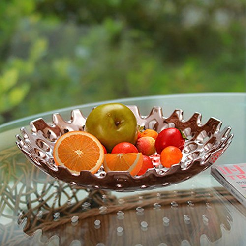 CLG-FLY Silver fruit bowl ceramic decorative living room coffee table decoration ideas 32cm(12.5in),Silver fruit bowl