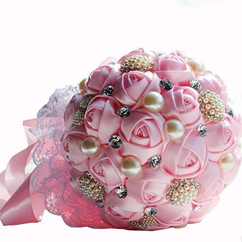 Bouquet de Roses Artificielles pour Mariee Orne de Perles Artificielles Strass - Rose Pink