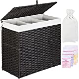 GREENSTELL Laundry Hamper with Lid, 125L Large 3 Sections Clothes Hamper with 2 Removable Liner Bags & 5 Mesh Laundry Bags, Handwoven Synthetic Rattan Divided Laundry Basket for Clothes, Toys Black