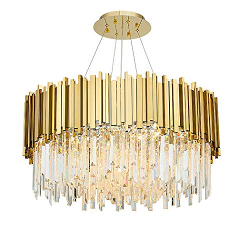 YJFFANPostmoderne Gold-K9 Kristallleuchter, Luxury Simple Wrought Iron Pendant Lights Für Villa Restaurant Living Room Beleuchtung Hotel Engineering Lamps E14,110-240V,1 Layer,60cm