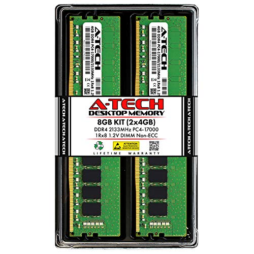 A-Tech 8GB (2x4GB) DDR4 2133MHz DIMM PC4-17000 UDIMM Non-ECC 1Rx8 1.2V CL15 288-Pin Desktop Computer RAM Memory Upgrade Kit