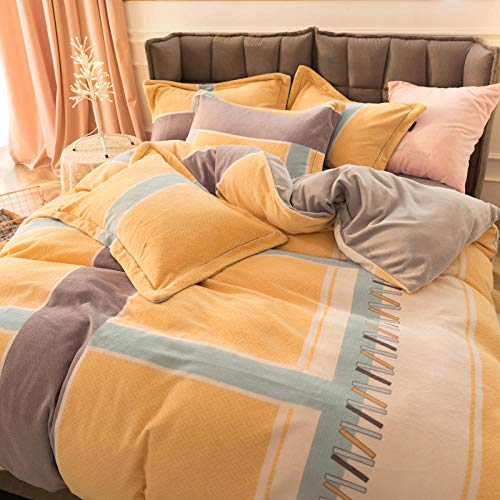 Coral Vaughan King Size Duvet Cover,Milk Velvet Four-Piece Winter Double-Sided Velvet Thick Warm Quilt Cover-Bragg Yellow_1.5 Bed 200 * 230 4pcs199