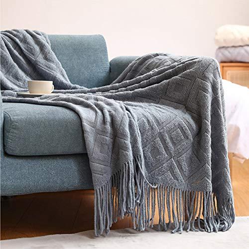LYDK Manta de punto gruesa en invierno, colcha de oficina para aire acondicionado, flexible y agradable al tacto, bonita y generosa niebla azul 127 x 172 cm